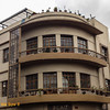 The corner balconies in Cuenca offer views down two streets.