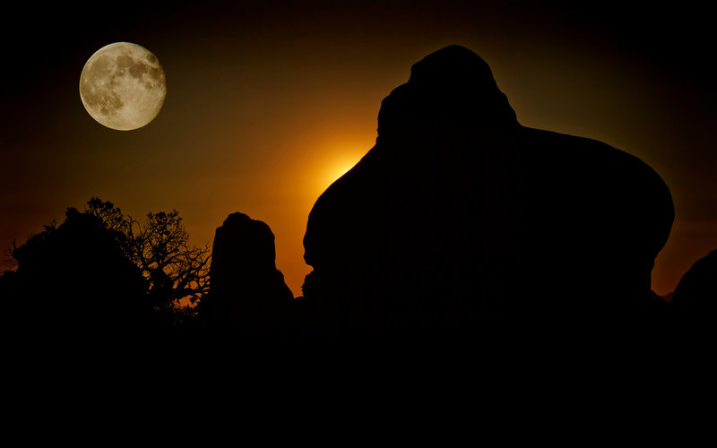 Moonlight composite, or is it sun-up at Arches National Park, Utah - #0496