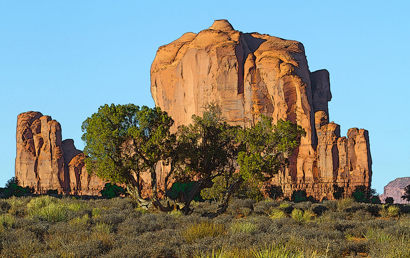 Monument Valley Navajo Tribal Park reservation in Utah, site of many western movies along a 17 mile road, #0278