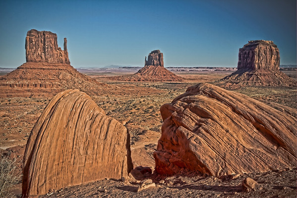 The Mittens ... Monument Valley Navajo Tribal Park reservation - Arizona; site of many western movies - #0274