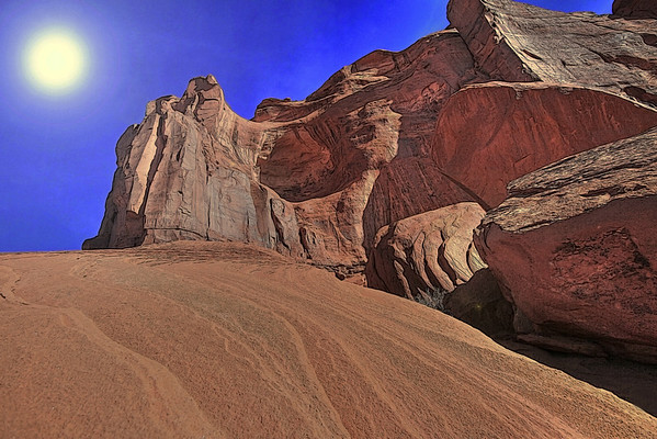Monument Valley Navajo Tribal Park reservation in Utah, site of many western movies along a 17 mile road, #0280