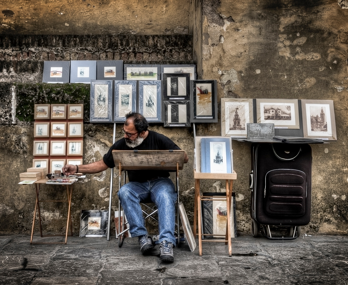 Painter.<br /> <br /> Sevilla,  Andalucia, Spain, 2011.