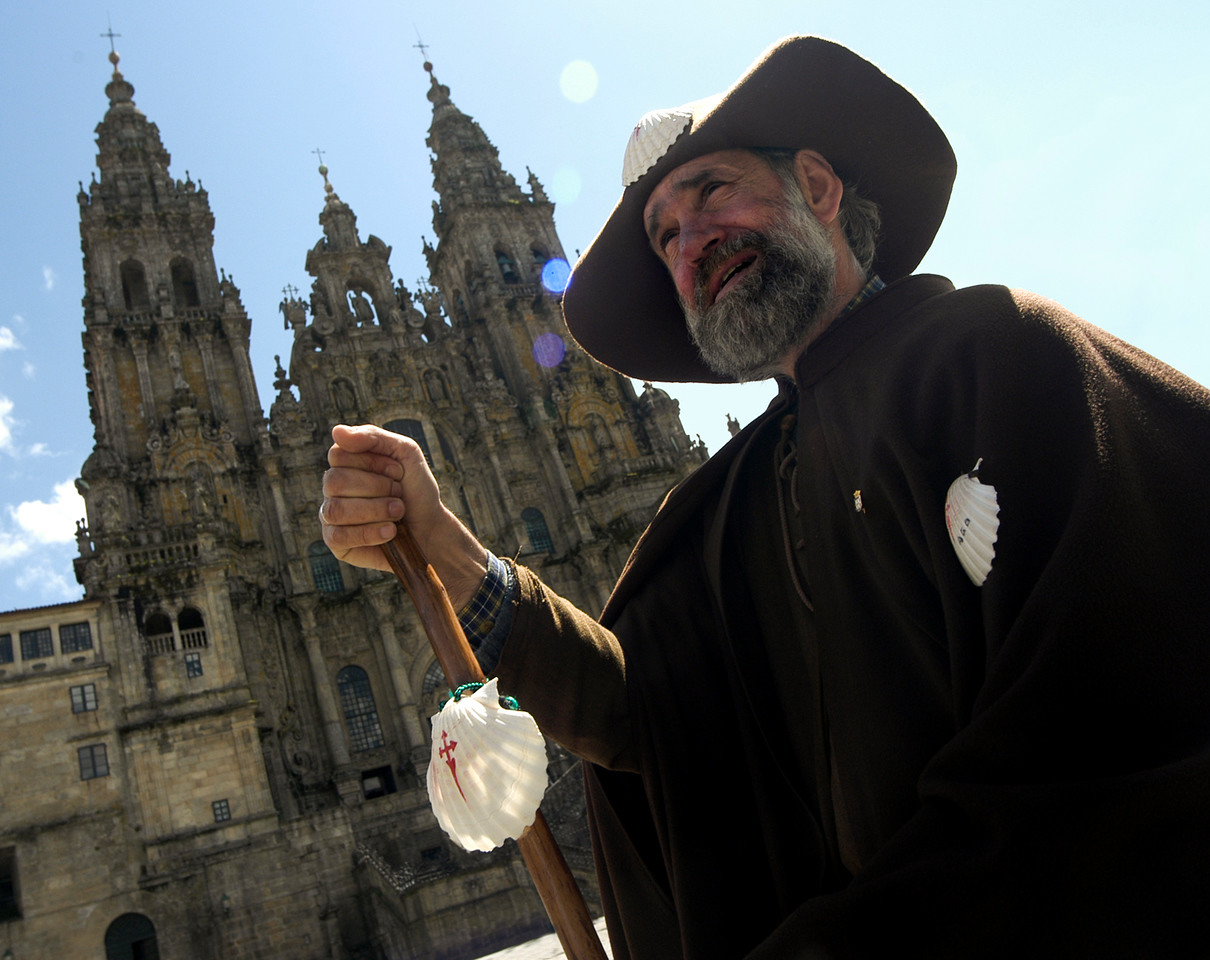 Pilgrim in the city of Santiago de Compostela.<br /> <br /> Northern Spain.