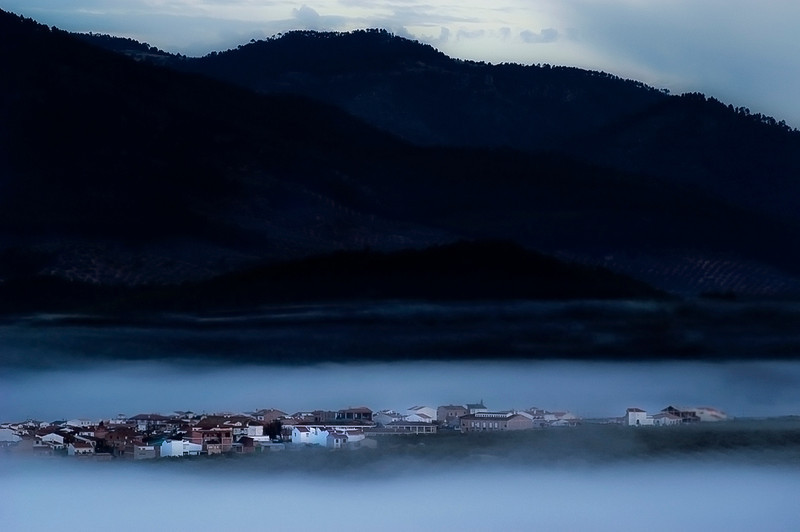 The village of Hornos early in the morning. Nature reserve of Cazorla, Segura y las Villas.<br /> <br /> Andalucia, Spain.