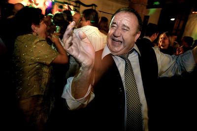 Man celebrating his sons wedding.  Ubrique, Cadiz, Andalucia, Spain.