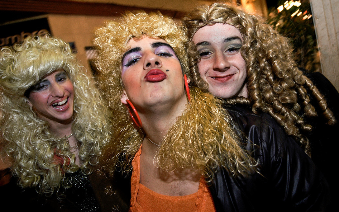Local boys dressed up as women during the carnival.<br /> <br /> La Linea De La Concepción, Cadiz, Spain.