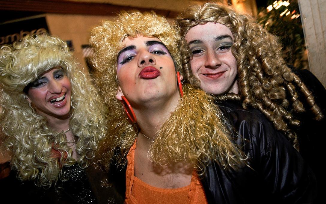 Local boys dressed up as women during the carnival.<br /> <br /> La Linea De La Concepción, Cadiz, Spain.