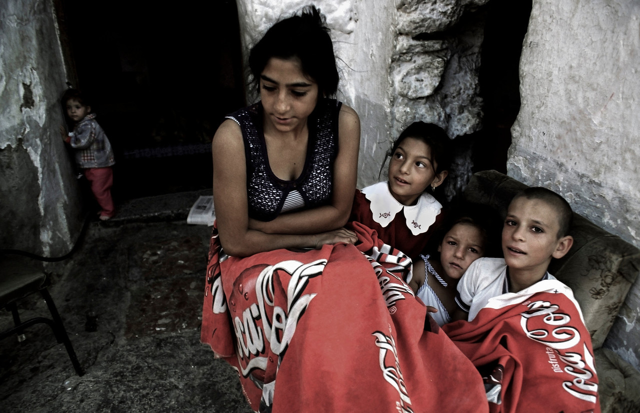 Gypsy family.<br /> <br /> Guadix,  Andalucia, Spain