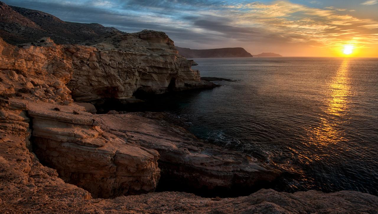 Sunrise on the Almeria coast.<br /> <br /> Spain, 2014.