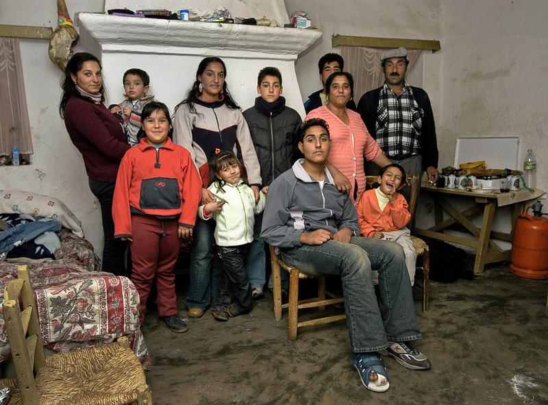Gypsy family.<br /> <br /> Hornos, Andalucia, Spain.