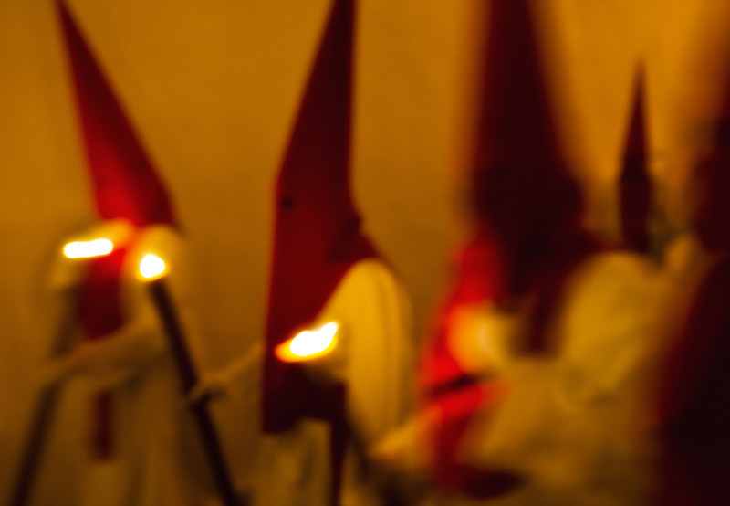 Penitentes, during Spain's Easter celebrations. <br /> <br /> Arcos de la Frontera, Andalucia, Spain, 2014