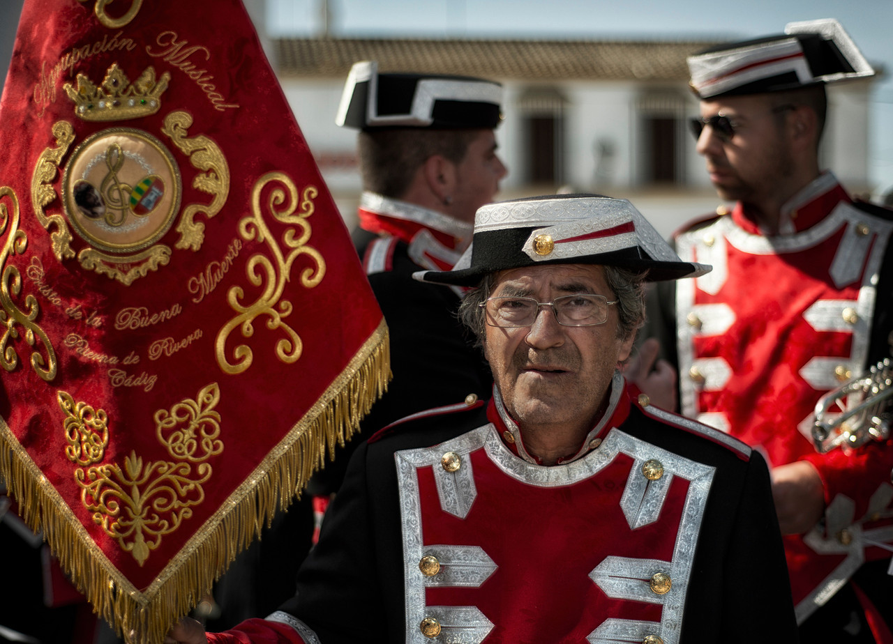 "In most cases, during the Spanish Easter celebrations the ""pasos"" are accompanied by Marching bands performing ""Marchas procesionales"" a specific type of compositions, devoted to the images and fraternities.<br /> <br /> Arcos de la frontera, Andalucia, Spain, 2014"