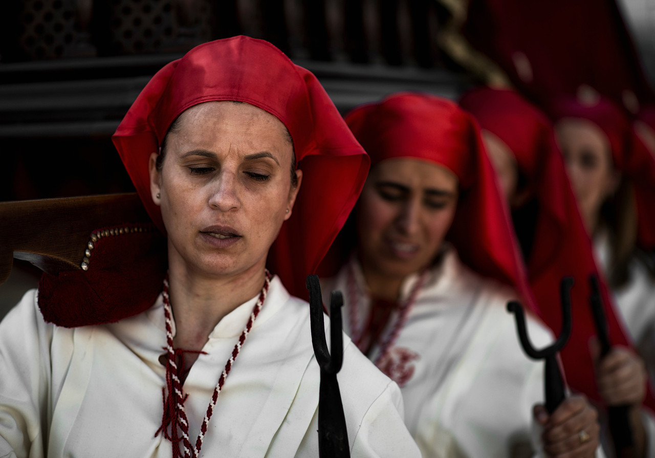 "Women carrying the ""Paso"" during the Easter processions.<br /> <br /> Arcos de la Frontera, Andalucia, Spain, 2014"