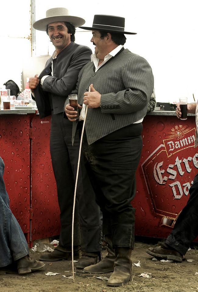 Local men at a horse fair in the small village of San Enrique De Guadiaro.<br /> <br /> Cadiz,  Andalucia, Spain