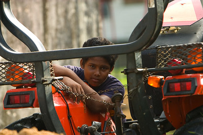Boy with tractor at Spanish Lookout, Cayo, Belize.