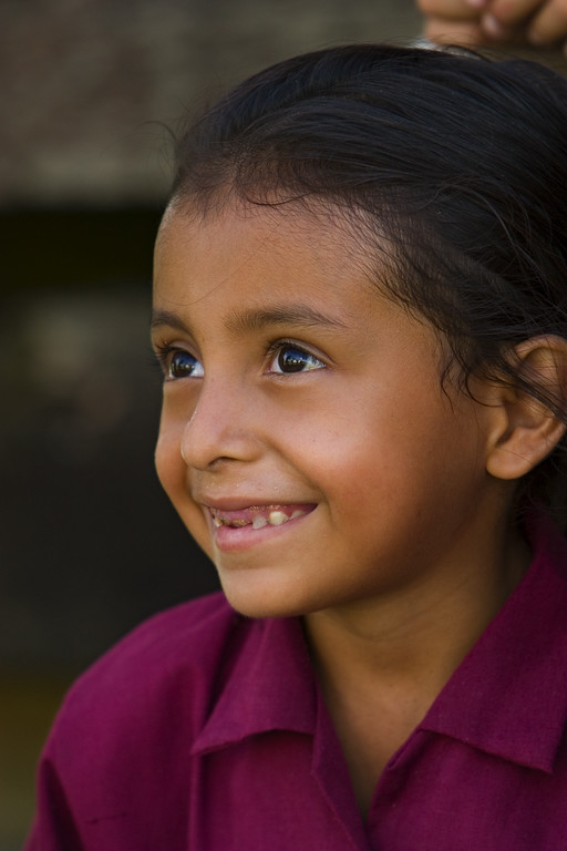 Hispanic girl at school in Spanish Lookout, Cayo, Belize.