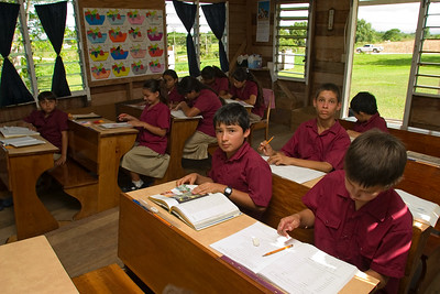 Hispanic children in classroom at school in Spanish Lookout, Cayo, Belize.