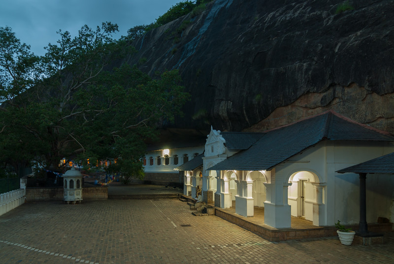 Evening at the Dambulla Cave Temple<br /> Dambulla cave temple also known as the Golden Temple of Dambulla is a UNESCO World Heritage Site, East of Colombo in Central Sri Lanka.