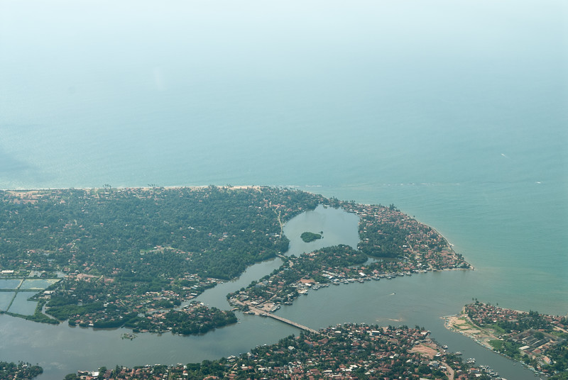 Ariel view of Colombo city on departure from Bandaranaike International Airport, Colombo, Sri Lanka.