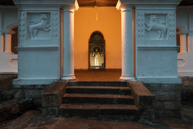 View of the inside of the caves from the entrance to Dambulla Cave Temple, Sri Lanka<br /> Dambulla cave temple also known as the Golden Temple of Dambulla is a UNESCO World Heritage Site, East of Colombo in Central Sri Lanka.