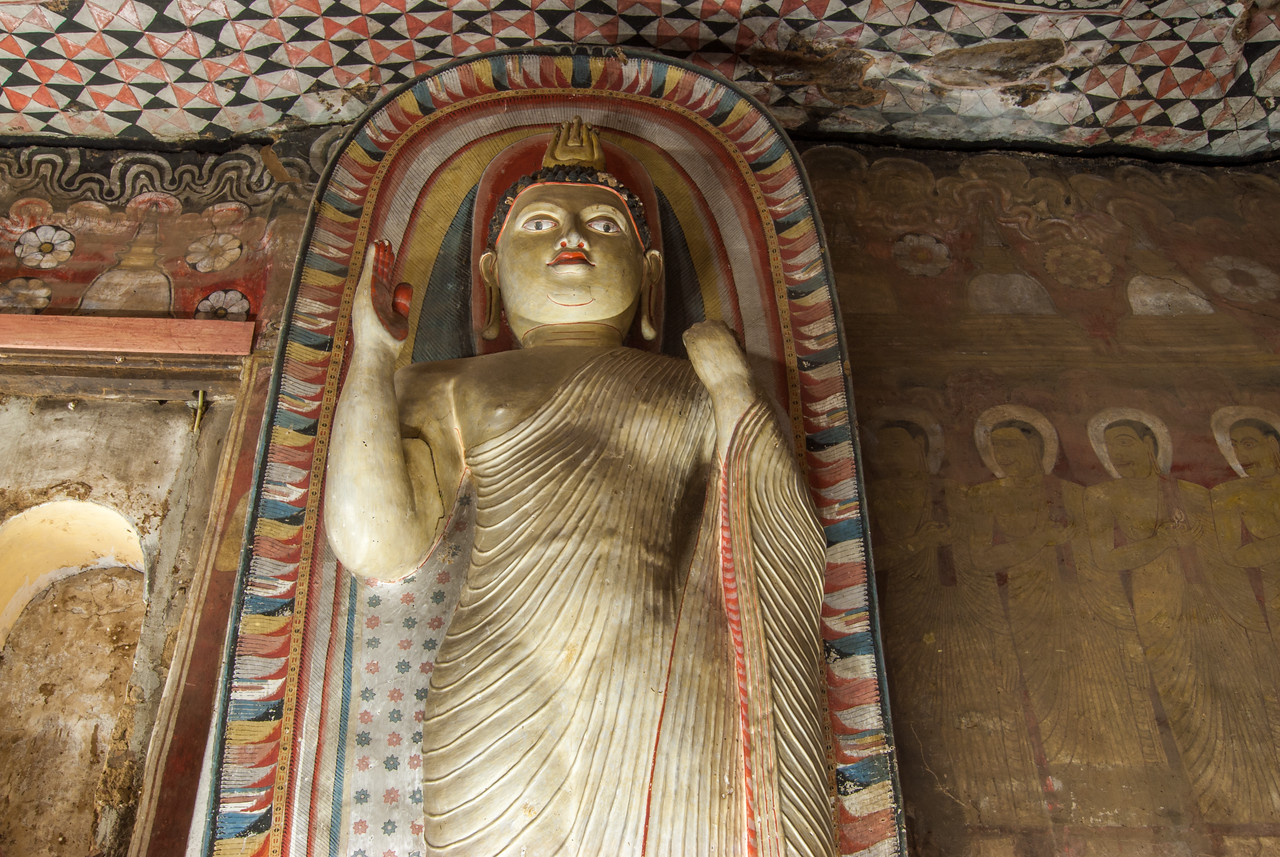 Lots of Buddha statues at Dambulla Cave Temple, Sri Lanka. Dambulla cave temple also known as the Golden Temple of Dambulla is a UNESCO World Heritage Site, East of Colombo in Central Sri Lanka.