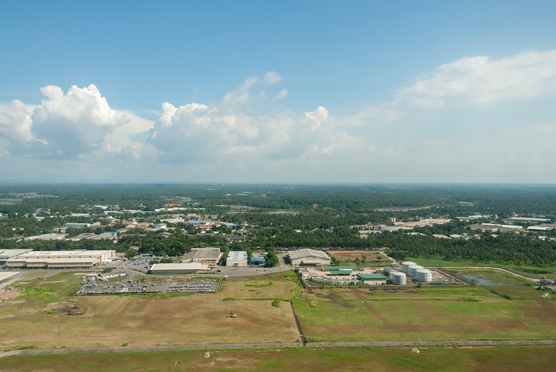 Ariel view on departure from Bandaranaike International Airport, Colombo, Sri Lanka.