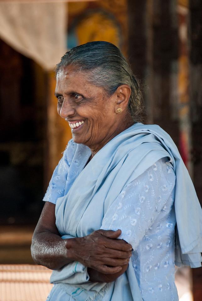 Old lady at the Natha Devale shrine. Kandy, Sri Lanka.
