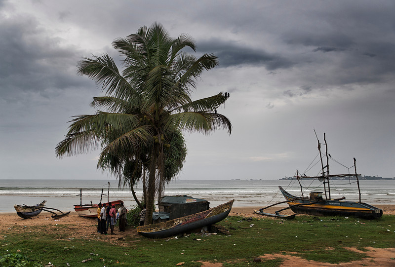Traditional fishing boats on a beach close to Galle.<br /> <br /> Sri Lanka, 2014