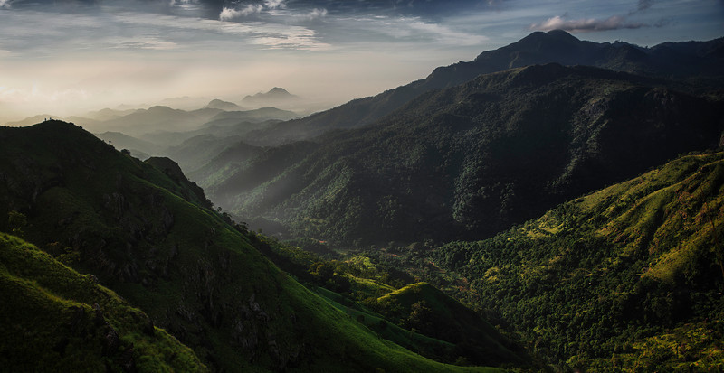 View of Ella Gap from the top of Ella town.<br /> <br /> Ella, Sri Lanka, 2014.