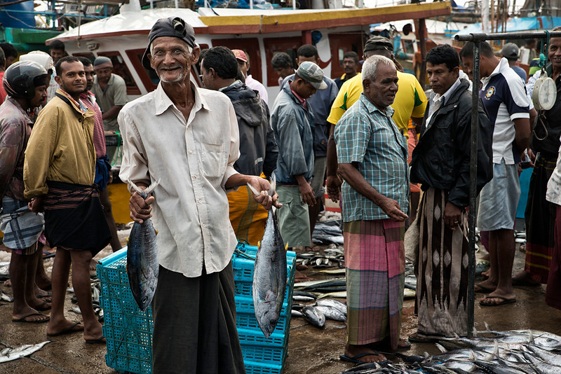 Early morning trading at the Unawatuna fish market.<br /> <br /> Unawatuna,Sri Lanka, 2014