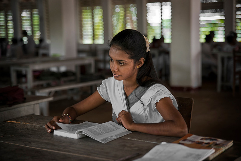 Due to the variety of ethnic groups in Sri Lanka, many schools teach only in either Sinhala or in Tamil and unfortunately not in English. The elite colleges in major cities such as Colombo and Kandy, teach in all three mediums.<br /> <br /> Teacher at Saturday school,Sri Lanka, 2014.