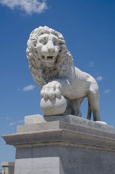 The Lion statues at the Bridge of Lions