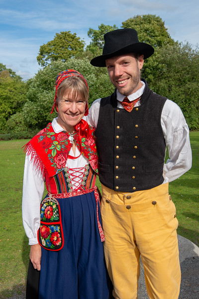 Traditionally Swedish attired performers at Skansen, Djurgårdsslätten, Stockholm, Sweden. Is an large open-air Swedish history museum, with buildings, people in costume & a zoo with Nordic animals.