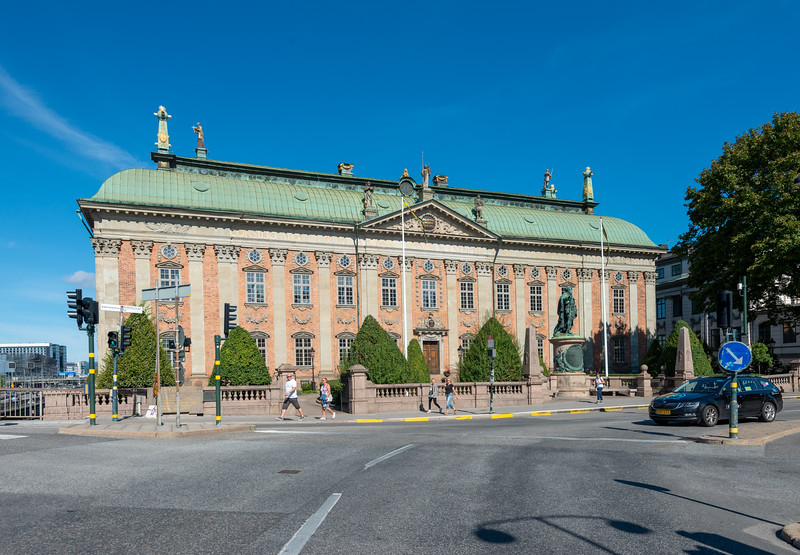 Högsta domstolen (House of Nobility), Grand 17th-century house & great hall for meetings of the nobility, featuring 2,330 coats of arms. Riddarhustorget, Stockholm, Sweden.