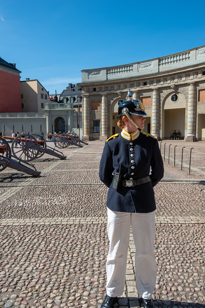 Change of Guards at Kungliga slottet, The Royal Palace. Baroque-style royal palace with 3 museums & a vast library. Stockholm, Sweden.