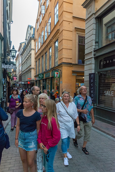 Old Town, Gamla Stan, narrow streets near The Royal Palace. Stockholm, Sweden.