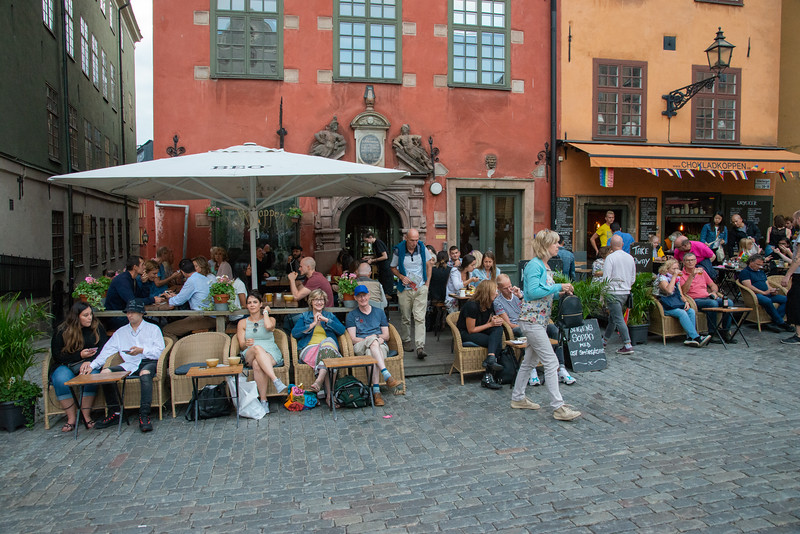 Cafe, Old Town, Gamla Stan,  near Nobel Museum and The Royal Palace. Stockholm, Sweden.