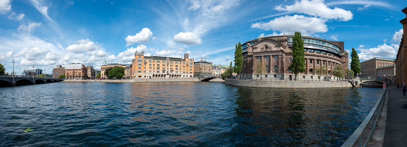 Panoramic view of Parliament House. Parliament buildings with 2 chambers, was inaugurated in 1905 & connected by underground tunnels. Riksgatan, Stockholm, Sweden