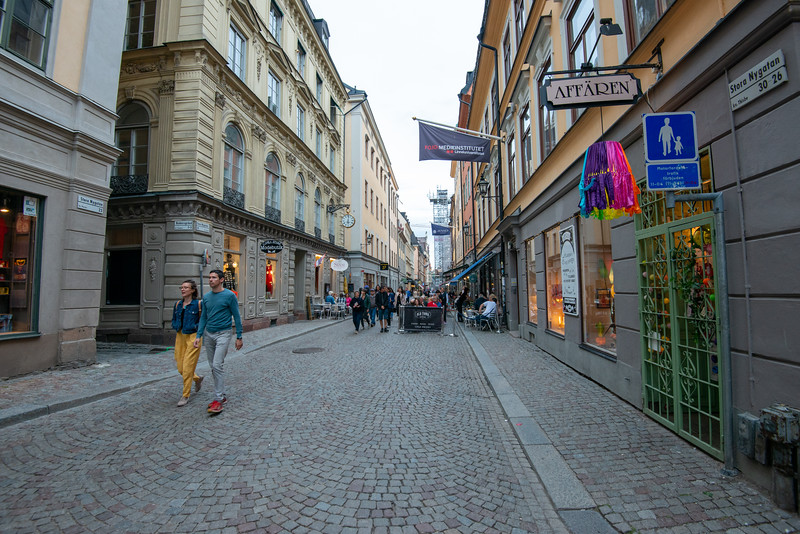 Narrow lanes and shops in Old Town, Gamla Stan, near Nobel Museum and The Royal Palace. Stockholm, Sweden.