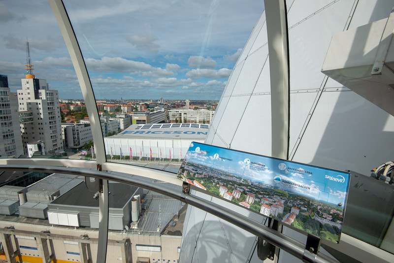 Skyview, Ericsson Globe, Johanneshov, Sweden. Glass gondola takes rides along the outside of the Ericsson Globe, the world's largest spherical building for a panaramic view of the Stockholm city.
