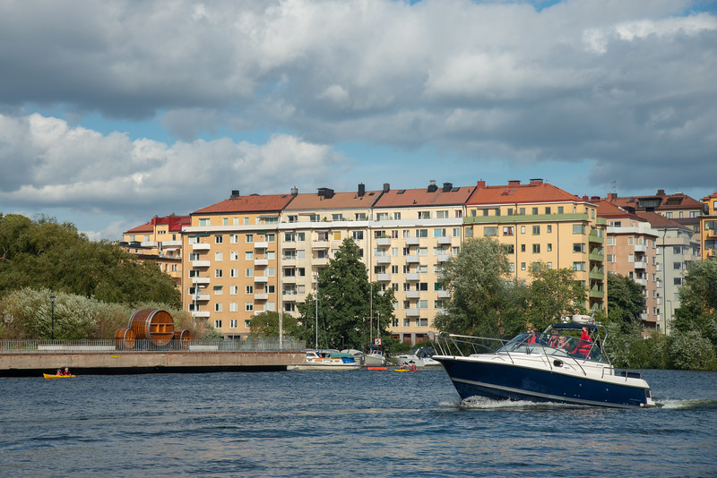 Boats on the canal. Royal Canal Tour of Stockholm on a ferry which is included in the Stockholm Pass.