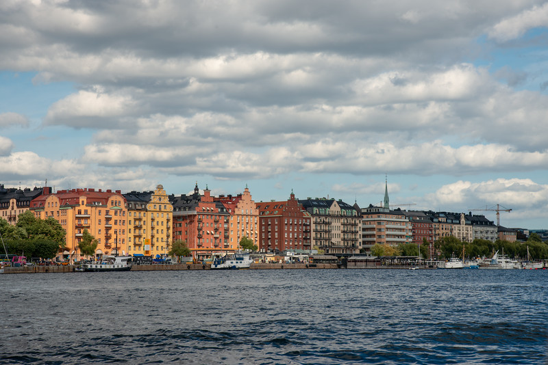 Lovely Stockholm skyline seen from the Royal Canal Tour of Stockholm on a ferry which is included in the Stockholm Pass.