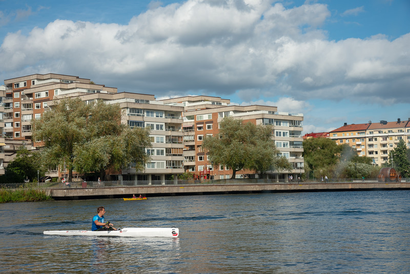 Kayaks on the canal in Stockholm. Royal Canal Tour of Stockholm on a ferry which is included in the Stockholm Pass.