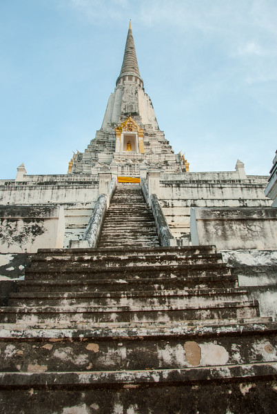 Wat Phu Khao Thong in Ayutthaya, Thailand, is a buddhist temple founded in 1569, with a 50-m. chedi (stupa) restored in the 18th century.