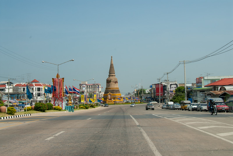 Road in Ayutthaya, Thailand.