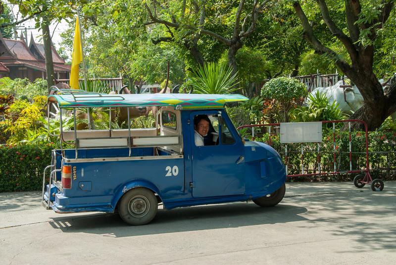 Tuk-tuk in Wat yai chai mongkhon, Ayutthaya, Thailand.