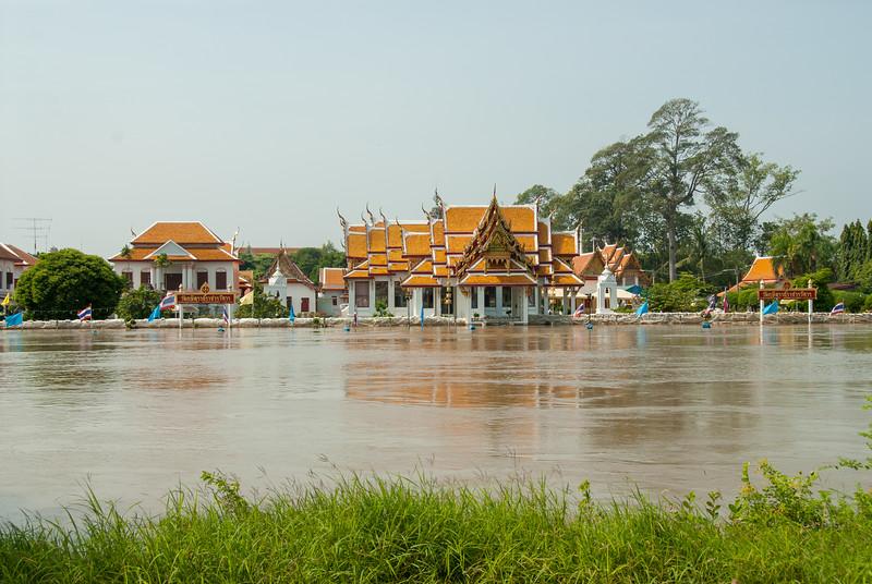 Flooding of Chao Phraya River near Ayutthaya Palace in Thailand.