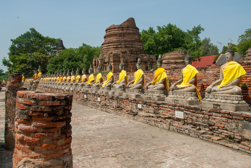 Wat yai chai mongkhon is a Buddhist temple in Ayutthaya, Thailand, There are many restored Buddhist temple stupas and there is a huge reclining Buddha & smaller seated ones in a row.
