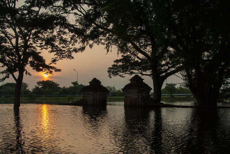 Sunset at Wat Phu Khao Thong in Ayutthaya, Thailand, which is a buddhist temple founded in 1569, with a 50-m. chedi (stupa) restored in the 18th century.