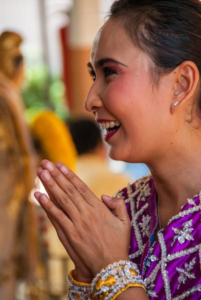 Theparak Shrine, Bangkok, Thailand. Thai dancers dressed as apsaras perform traditional dance and rituals.
